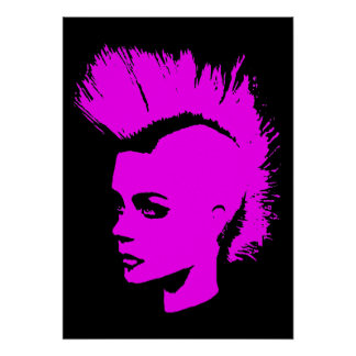 Punk Girl - university University of print - pink.
