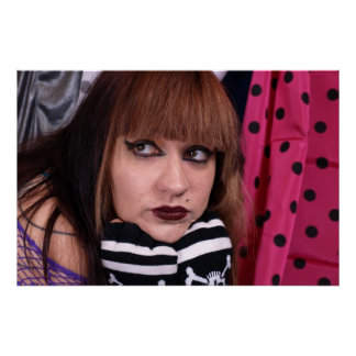 Punk Girl with Skulls Poster