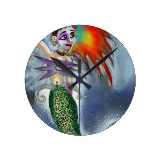 Punk goes the Mermaid Round Clock
