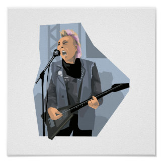 punk guitar player male blue.png poster