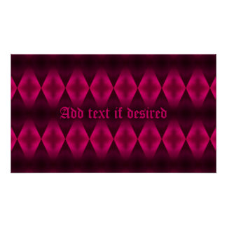 Punk hot pink diamond pattern rectangular poster