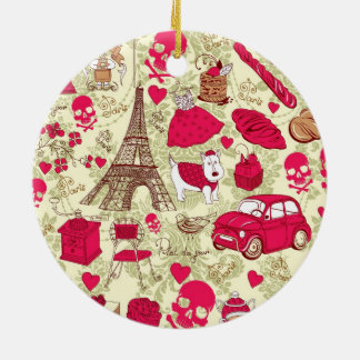 Punk In Paris Quirky French Icons pattern Christmas Ornament
