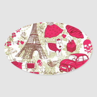 Punk In Paris Quirky French Icons pattern Oval Sticker