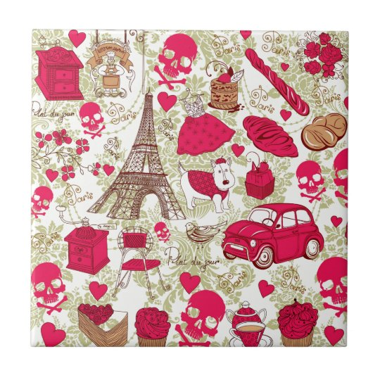 Punk In Paris Quirky French Icons pattern Small Square Tile