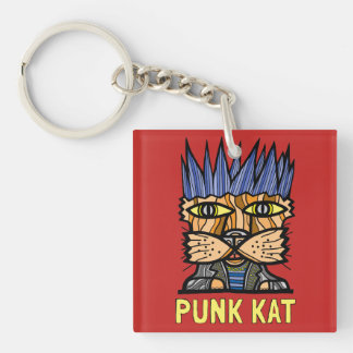 """""""Punk Kat"""" Square (double-sided) Keychain"""