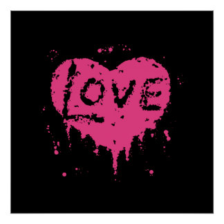 Punk love heat black and hot pink poster