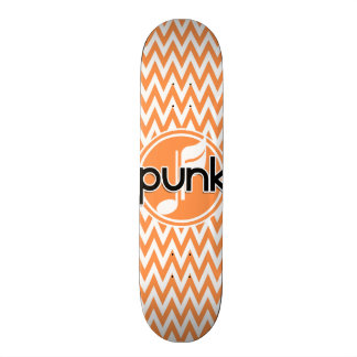Punk; Orange and White Chevron Skate Board Deck