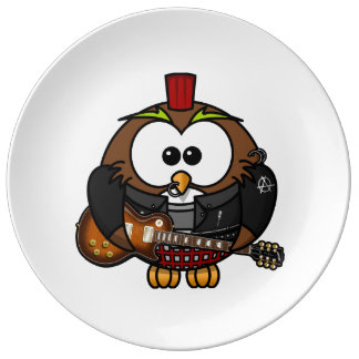 Punk Owl With Guitar Plate
