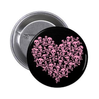Punk Pink Skull Heart 6 Cm Round Badge
