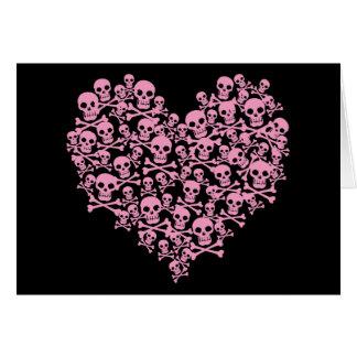 Punk Pink Skull Heart Greeting Card