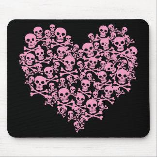 Punk Pink Skull Heart Mouse Mat