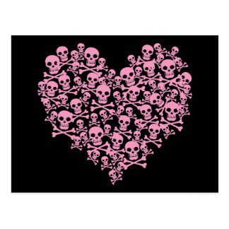 Punk Pink Skull Heart Postcard