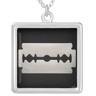 Punk Razor Blade Sterling Silver Necklace