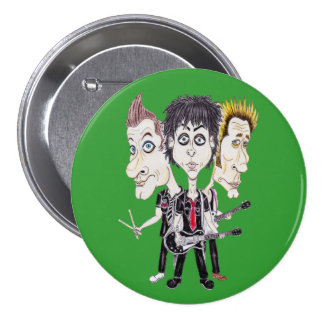 Punk Rock Band Funny Caricature Drawing Badge