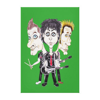 Punk Rock Band Funny Caricature Drawing Canvas Stretched Canvas Prints