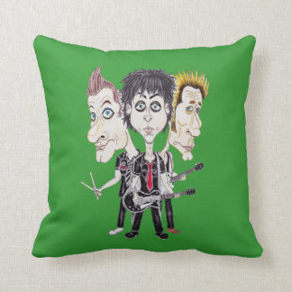 Punk Rock Band Funny Caricature Drawing Cushion Throw Pillow