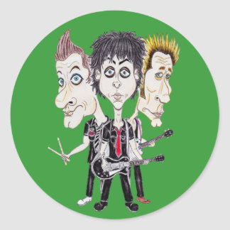 Punk Rock Band Funny Caricature Drawing Sticker