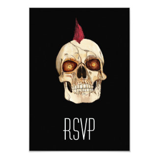 Punk Rock Gothic Skull with Red Mohawk 9 Cm X 13 Cm Invitation Card