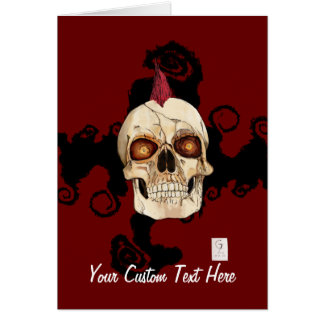 Punk Rock Gothic Skull with Red Mohawk Card