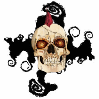 Punk Rock Gothic Skull with Red Mohawk Photo Cutout