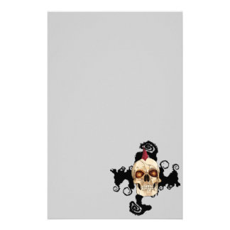 Punk Rock Gothic Skull with Red Mohawk Stationery