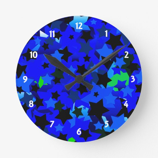 Punk Rock Stars Blue Round Clock