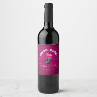 Punk Rock Zombie Girl Wine Wine Label