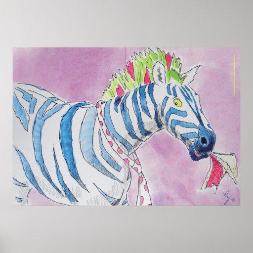 Punk Rocker Zebra Posters