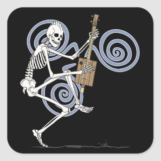 Punk Skeleton Guitarist Square Sticker