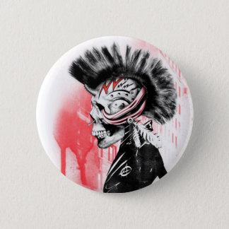 punk skull 6 cm round badge