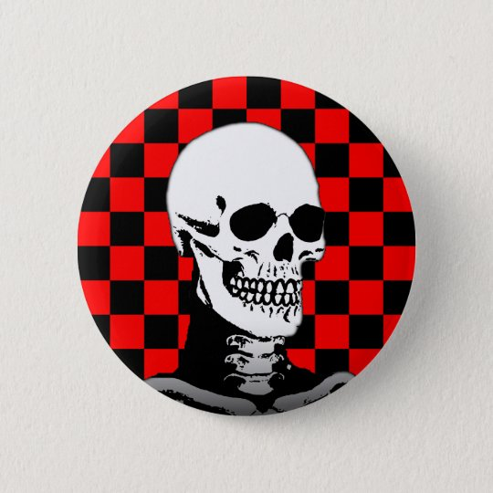PUNK SKULL CHECKERBOARD 6 CM ROUND BADGE