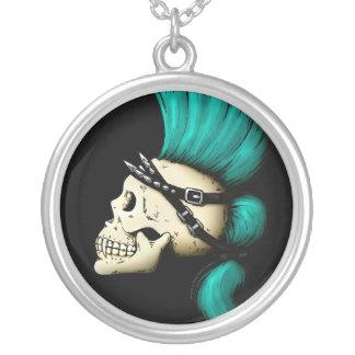 Punk Skull Round Pendant Necklace