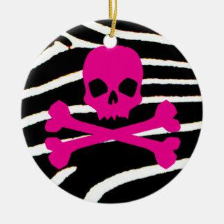 Punk Skull Round Ceramic Decoration