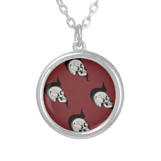 PUNK SKULLS SILVER PLATED NECKLACE