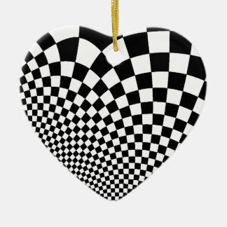 Punk warped retro checkerboard in black and white ceramic heart decoration