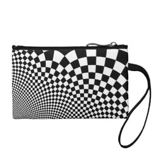 Punk warped retro checkerboard in black and white change purses
