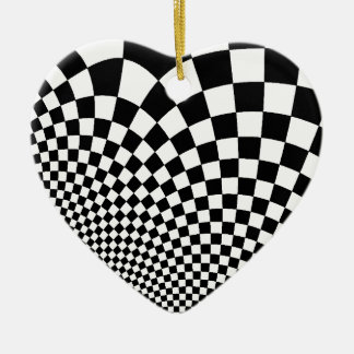 Punk warped retro checkerboard in black and white christmas ornament