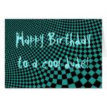 Punk warped retro chequerboard Happy Birthday dude