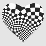 Punk warped retro chequerboard in black and white heart stickers