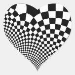 Punk warped retro chequerboard in black and white heart stickers