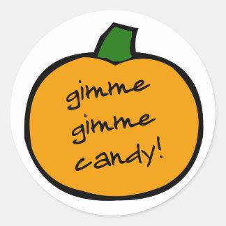 punkin_gimmie_candy round sticker