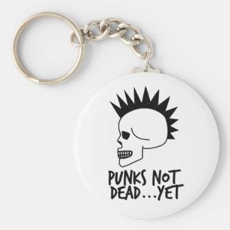 Punks Not Dead...Yet Skull White Key Ring