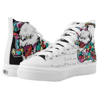 Punky Demon Skull Asimetrical Shoes Printed Shoes