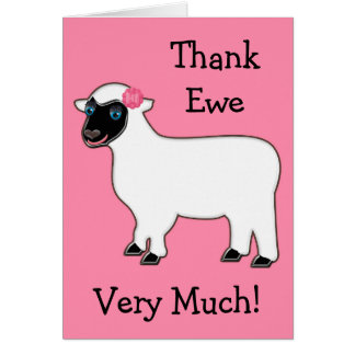 Punny Thank You Ewe Sheep Pink Notecard