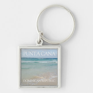 Punta Cana, Dominican Republic Beach and Ocean Silver-Colored Square Key Ring