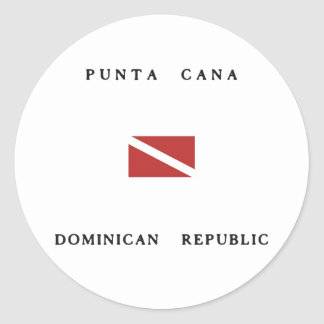Punta Cana Dominican Republic Scuba Dive Flag Classic Round Sticker