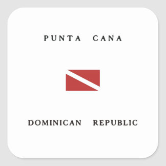Punta Cana Dominican Republic Scuba Dive Flag Square Sticker