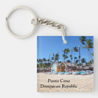 Punta Cana in the Dominican Republic Double-Sided Square Acrylic Key Ring