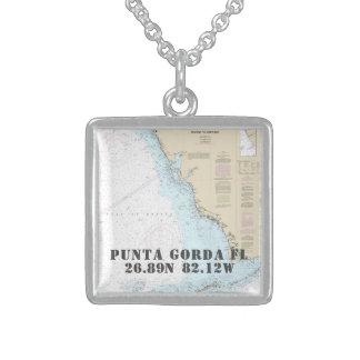Punta Gorda FL City Latitude Longitude Nautical Sterling Silver Necklace