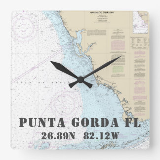 Punta Gorda FL Latitude Longitude Nautical Chart Square Wall Clock